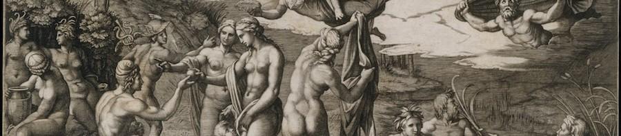 Marcantonio Raimondi d'après Raphaël, « Le jugement de Pâris », 1510-1520.