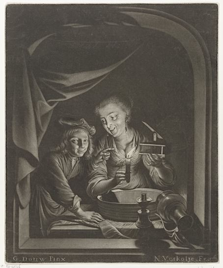 Nicolaas Verkolje, « le piège à souris », d'après Gerard Dou.